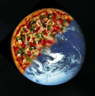 a morph between an image of Planet Earth and a typical pizza.